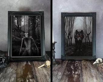 Wendigo Print, Wolf Print, Fantasy Art, Gothic Art, Folk Horror, Forest