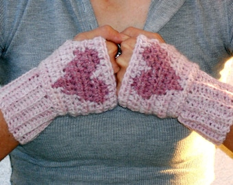 Soft pink heart hand warmers, rave gloves, fingerless gloves, arm warmers, texting gloves, crochet gloves, wrist warmers, mittens