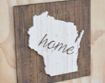 """Wisconsin State Wood Plaque Cutout """"Home"""""""