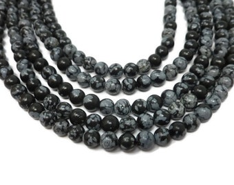 Black Snowflake Obsidian - 6mm Round Bead - Full Strand - 64 beads - black and gray spotted stone