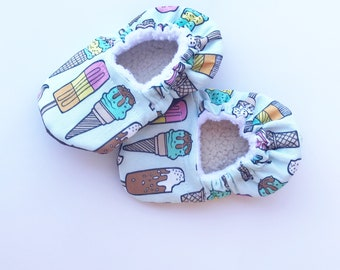 Ice Cream baby booties, toddler shoes, mint baby booties, mint ice cream, ice cream shoes, crib booties, mint booties, soft sole baby shoes