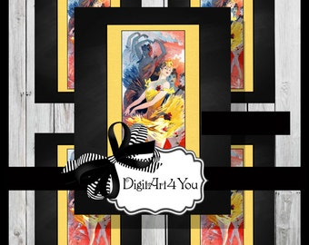 Digital collage/Art Deco/1900's/Ballet/Ballerina/Dancers/Ballet Dancer/Digital Download/Vintage Art/Supplies/Inchies/Dominoes/Retro/Collage