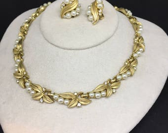 Trifari faux pearls necklace and earrings set