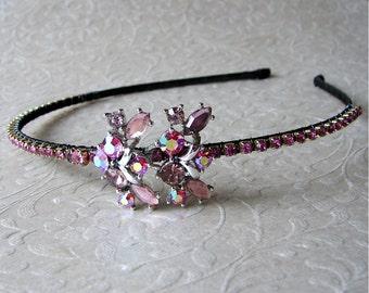 SAMPLE SALE Pink Yarrow Rhinestone Jeweled Headband AB Headpiece Bridal Formal Wedding Diadem Vintage Jewelry Pageant Prom Ballroom