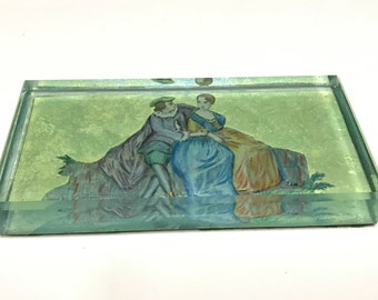Vintage Paper Weight of a Victorian Courting Couple, Large Paper Weight, Shabby Chic Decor, Vintage Office Decor, Shabby Chic Office
