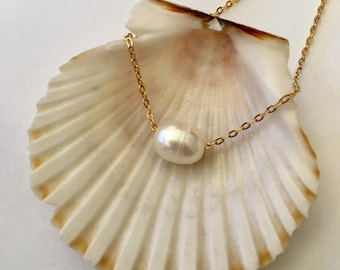 Floating Pearl Necklace, Large Natural White Pearl Necklace, Gold Pearl Jewelry, FREE SHIPPING One-of-a-Kind Brooklyngems