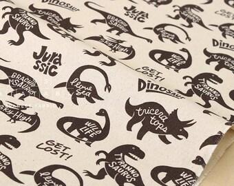 Japanese Fabric Kokka Trefle Monodeco dinosaurs - chocolate - 50cm