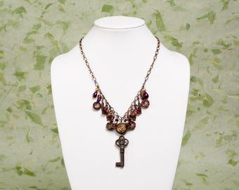 The Darkening of the Light. Handmade Beaded Necklace. Vintage Skeleton Key, Czech Glass Beads. Victorian, Romantic, Nature Inspired.
