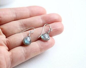 Gemstone Earrings, Faceted Labradorite Earrings, Labradorite Dangle, Gold filled, Sterling Silver, Teardrop Earrings, Gift For Her