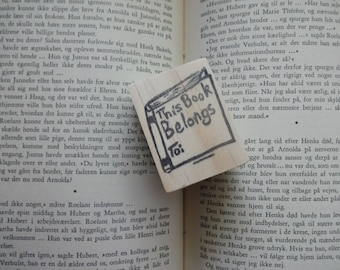 This Book Belongs To...Hand Carved Rubber Stamp: Closed Book Stamp, Book Plate, Name Stamp, Teacher Gift, Back to School, Novel, Librarian,