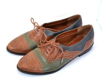 Vintage Tricolor Leather Brogues Oxford Flat Shoes Women size 8 1/2 Brown Blue Green