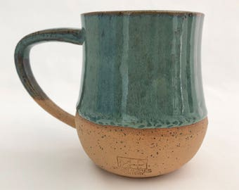 TEAL BLUE MUG - with exposed clay base, handmade pottery, great for coffee, tea, latte, espresso or anything else