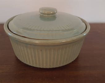 USA Pottery Green Casserole Dish with Lid