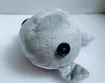 Hand Sewn grey Whale Plush With Rattle