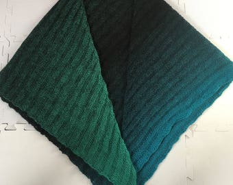 Infinity Shawl-Hand Knit-Katia-Green-Black-Blue-Wool
