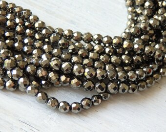 """4mm Pyrite tone hematite beads - strand of gleaming faceted pyrite colored hematite beads, 15.5"""" strand of hematite beads, spacer beads"""