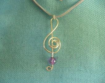 Treble Clef Pendant Necklace Handmade, Silver Wire