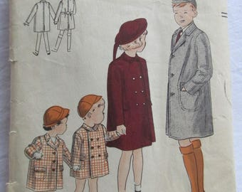 Vintage 1940s / 1950s Vogue 2562 Boy's or Girl's Child's COAT Sewing Pattern Size 1