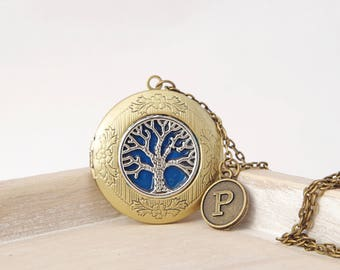 Personalized locket Tree of Life necklace Family Tree Locket Mothers day gift for mom Photo Locket Vintage Jewelry Memory Remembrance gift
