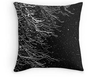 Falling Snow Pillow, Winter Trees Photo, Winter Bedding, Winter Pillow Cover, Snow Pillow Case, Winter Throw Pillow, Snow Pillow Cover
