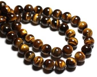 10pc - Perles de Pierre - Oeil de Tigre Boules 8mm A - 4558550038227