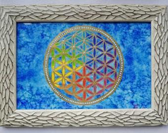 Watercolor Original Mandala Flower life.Best seller