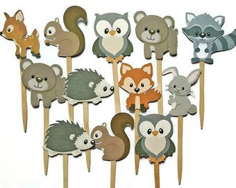 Double sided woodland theme cupcake toppers - set of 12, woodland animals, forest friends, nature theme
