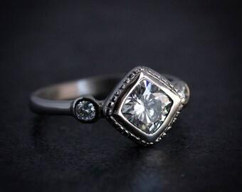 Moissanite Engagement Ring, 14k White Gold Diamond Shaped Wedding Ring, Palladium White Gold Multistone Ring, Milgrain Jewelry,Onegarnetgirl