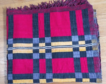 Vintage African Textile, woven, two sided textile, Nigerian, Yoruba, Asoke, or Kente, Ewe, Akwete, Asante, Liberian