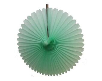 Mint green tissue paper pinwheel fan.  13 inch.  Mint green tissue fan.  Hanging party decorations.  Mint pinwheel fans.  Mint party decor.