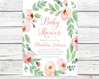Baby Shower Invitation, Pink Floral Baby Shower Invitation, Garden Baby Shower Invite, Rustic Baby Shower, Girl Baby Shower Invitation
