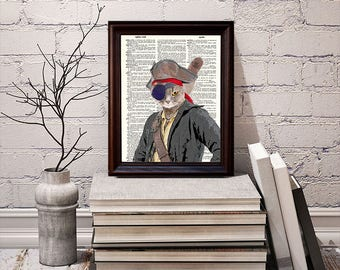 Pirate Cat - Dictionary Art Print