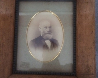 Vintage Wooden Frame with Matted Photo of Man - Solid Wood Frame with Antique Cabinet Photo