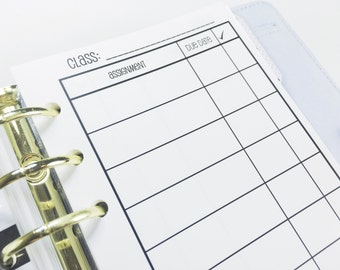 Printed Personal Size Assignment Tracking Inserts