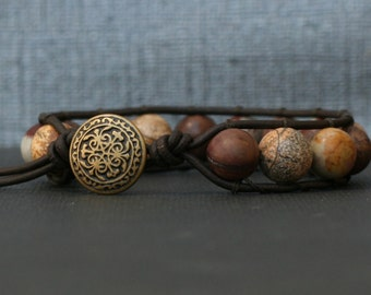 wrap bracelet - wild horse jasper on black brown leather - single wrap - boho mens or womens gypsy bohemian