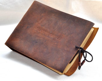 Personalized leather journal unique guest book Personalized with initials optional