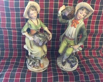 Homco figurine set vintage ceramic man and woman knick knacks