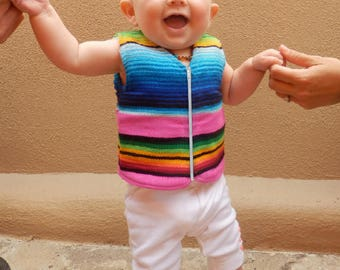 Handmade Baby Vest From Mexican Serape Blanket - Baby Shower Gifts For Boy or Girl - Newborn Baby Clothes …