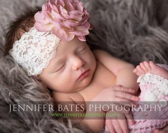 Baby Headband- Baby Girl Headbands- Baby Girl Hair Accessories- Rose flower, lace Headband- Flower Headband- cream lace Headband