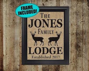 Framed Burlap Print - Lodge Decor - Lodge Sign - Hunting Lodge Decor - Hunting Gifts - Hunting Decor - Deer Decor - Personalized Lodge Sign