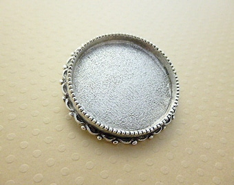 Antiqued - silver plated brooch 32 mm silver color SBAV30 1236 finding