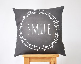 "Decorative Pillow, Modern Kids Pillows, Nursery Pillow, Throw Pillow, Cushion Cover, Monochrome Chalkboard Pillow 16"" x 16"""