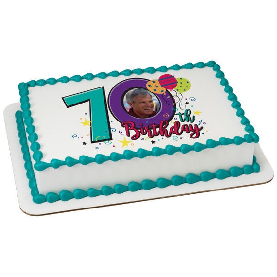 Happy 70th Birthday - Edible Cake and Cupcake Photo Frame For Birthdays and Parties! - D24116