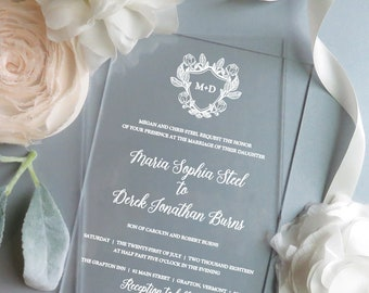 Acrylic Invitations   Clear Invitations    Vinyl Invitations    - Style 13 - BOTANICAL Crest COLLECTION