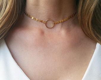 Gold collar necklace, Dainty choker necklace, Everyday circle necklace, Open circle choker, Boho choker necklace, Layering necklace