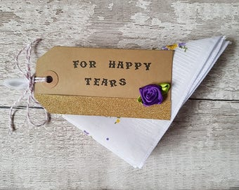wedding handkerchief For Happy Tears favour favor cotton gift floral hankie bridesmaids, mother of the bride