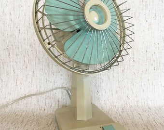 Vintage Retro small fan with pastel blue details from SHG
