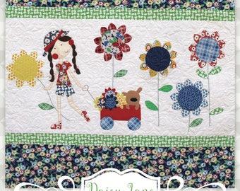 Instant Download- Daisy Jane Quilt Pattern.  Embroidery. Sunflower. Panel Quilt. Children's Quilt Pattern. Flower Quilt. Applique Flower