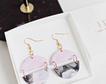 Round Shaped earrings, Gold Wire Dangle Earrings, Polymer Clay Earrings, Three Tone pink, black & grey, Cute round earrings