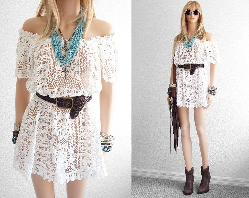 Weiß Crochet Lace Hochzeit Kleid häkeln Kleid Lace Kleid